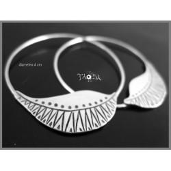 Earrings Leaf Hoop Mandala 2