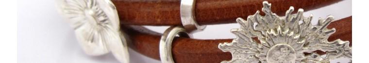 Taoba 925: joyas Pulseras en plata 925, artesanal piedras semi preciosas, cuero, esmalte Francia